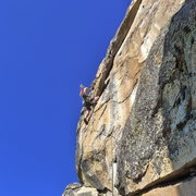 Rock Climbing Photo: Mike Arechiga on the new, Thunderbold 5.10a, fun r...