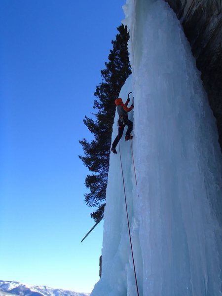 Rock Climbing Photo: Final bit of ice to the top.