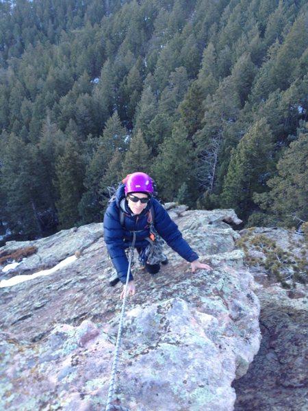 Karen nearing summit belay.