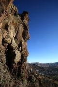 Rock Climbing Photo: Pullin' the crux bulge.