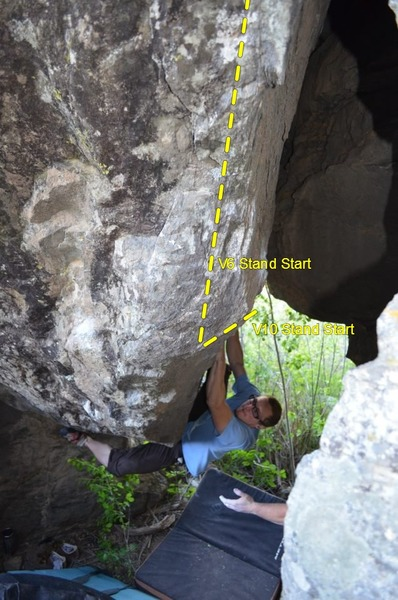 """Attempting the V10 start deep in """"The Cave""""."""