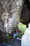 "Rock Climbing Photo: Attempting the V10 start deep in ""The Cave&qu..."