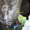 "Attempting the V10 start deep in ""The Cave""."