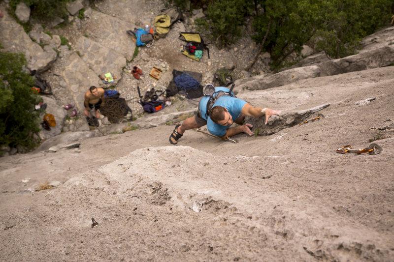 Steve on Mugre Mugre. Bomber rock, fun climbing.