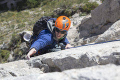 Rock Climbing Photo: Andy in the crux changing corners pitch. This is w...