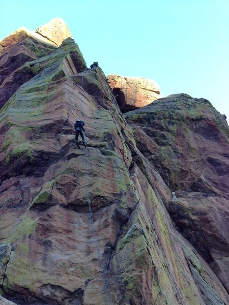 Rock Climbing Photo: Second rappel off the back of the Third Flatiron. ...