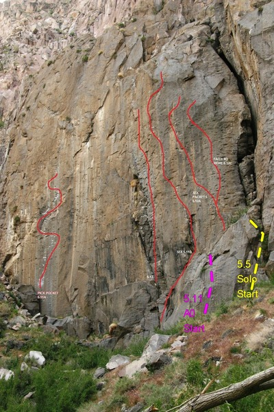 Rock Climbing Photo: Topo of routes added to Euan Cameron's excellent p...