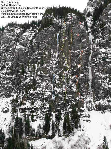 Rock Climbing Photo: Green Line is Walk Irene. Red Xs are anchors. Only...