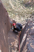 Rock Climbing Photo: Tanner climbing at the top of Pitch 3...
