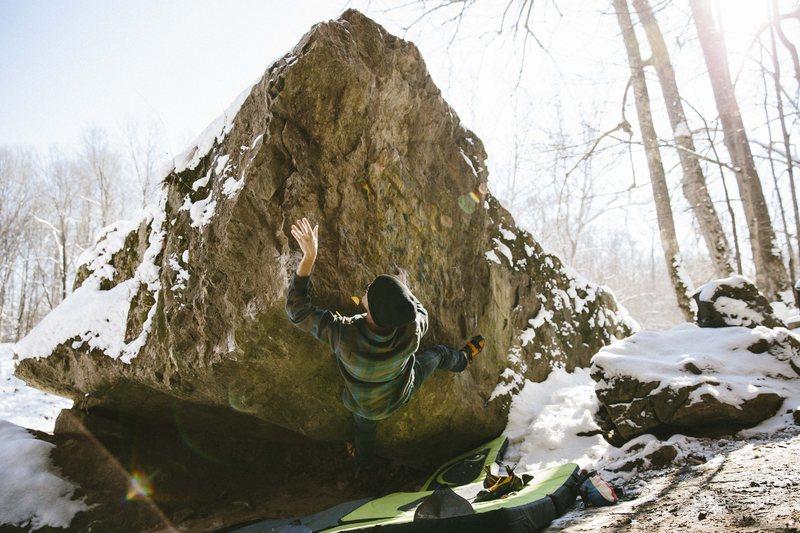 Rock Climbing Photo: Thigh Master (V5) Tangerine Wall, Muscatatuck Indi...
