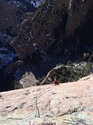 Rock Climbing Photo: George Perkins on the 12- slab crux at the top. Ja...