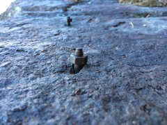"Rock Climbing Photo: Two antique 1/4"" bolts on the ledge that star..."