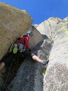 Rock Climbing Photo: Richard Shore starting up P1. Photo: Erik Harz