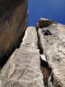 Rock Climbing Photo: Erik Harz leading the runout P2