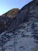 Rock Climbing Photo: Erik Harz leading the P6 dogleg crack to the summi...