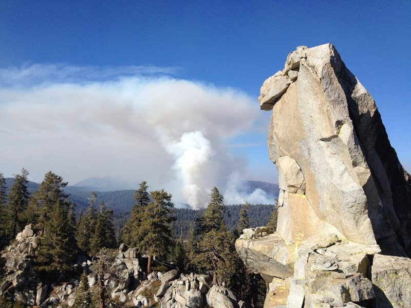 Hermit Spire summit block with a January wildfire (!) burning less than a mile to the north