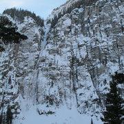 Rock Climbing Photo: The Ribbon and Bird Brain Blvd, Ouray; Dec 2010