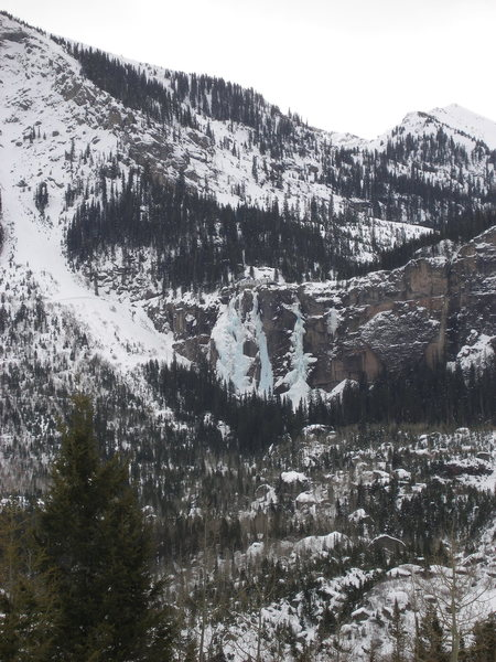 Bridal Veil Falls, Telluride, Colorado. (Climber's right formation@SEMICOLON@ climbing on middle & climber's left prohibited).