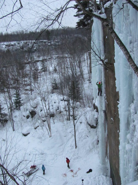 Kris Gorny leading the left column on The Stage Wall. 19Jan14<br> <br> Pretty sure this is the first lead.<br> <br> The Stage Wall was first farmed during the 2013/2014 season and its 70+ feet are an exciting addition to The Sandstone Ice Park.