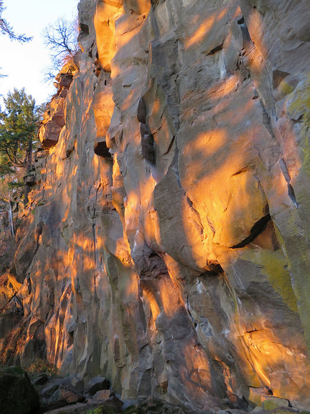 Rock Climbing Photo: Left half of the Bat Wall at sunset.