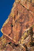 Rock Climbing Photo: Unknown climber leading the crux pitch.