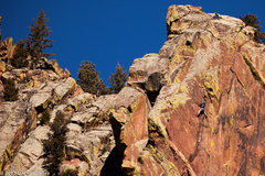 Rock Climbing Photo: Unknown climber following the crux pitch.