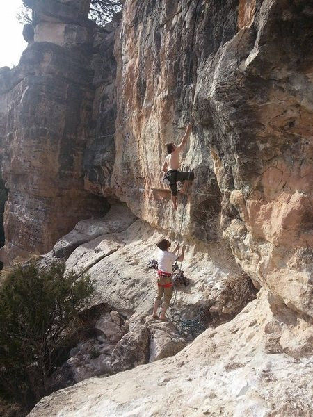 Rock Climbing Photo: No shoes top rope on Rave On (January 2014).