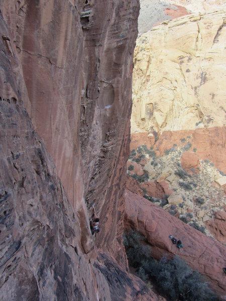 Rock Climbing Photo: Brian begins Lunatic. 95 feet to go!