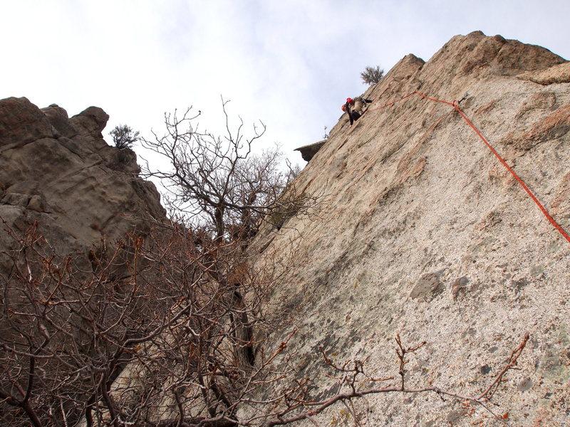 Rock Climbing Photo: Garret leading Brass Monkey
