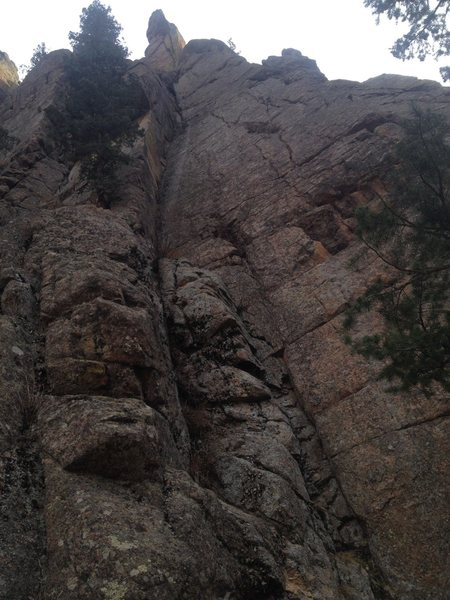 Great climb that starts out on a junky pillar to a nice thin crack and good stemming or jamming.