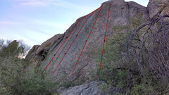 Rock Climbing Photo: 3rd route from the left. Bolt location is approxim...