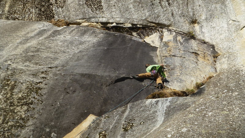 Crux of route. Was dry, felt like 5.11b