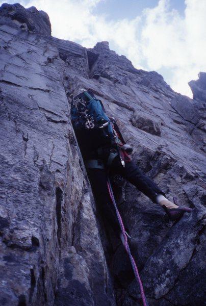 Rock Climbing Photo: Myself starting the steep off the choss traverse 1...