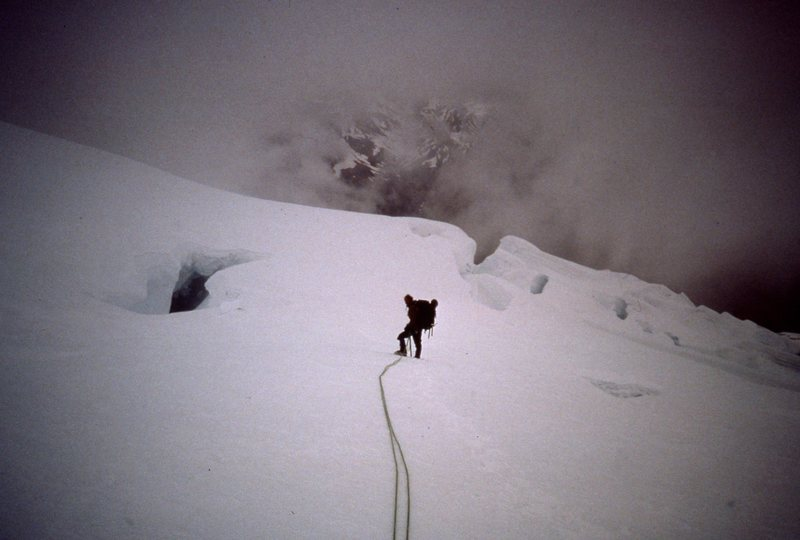Rock Climbing Photo: David Koch crossing the mist glacier early 80ts.