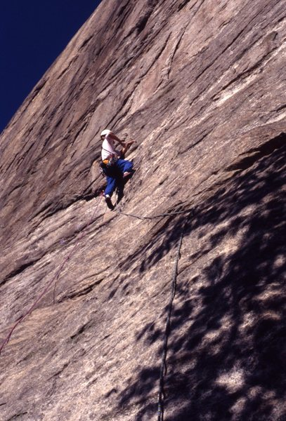 Rock Climbing Photo: Kris Kline on second ascent of Stonewall fall 1990...
