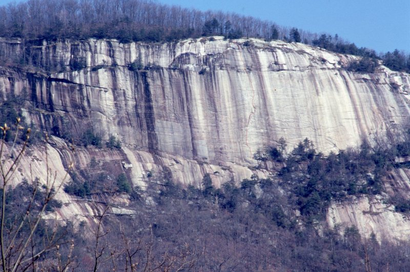 SE face of Table Rock with the FA on this face in red Stone Wall Action Jan.1990.
