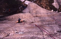Rock Climbing Photo: Doc following first pitch on FA. early 90.