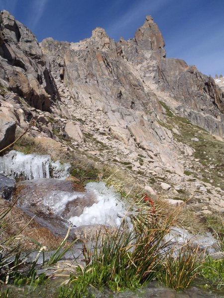 Rock Climbing Photo: Icy stream on hike in to Cohete Lunar, early Jan 2...
