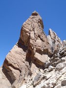 Rock Climbing Photo: The line: straight up to the roof, layback to off ...