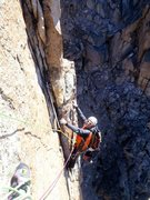 Rock Climbing Photo: Dedos Empastados 6a (yes the sling is messed up......