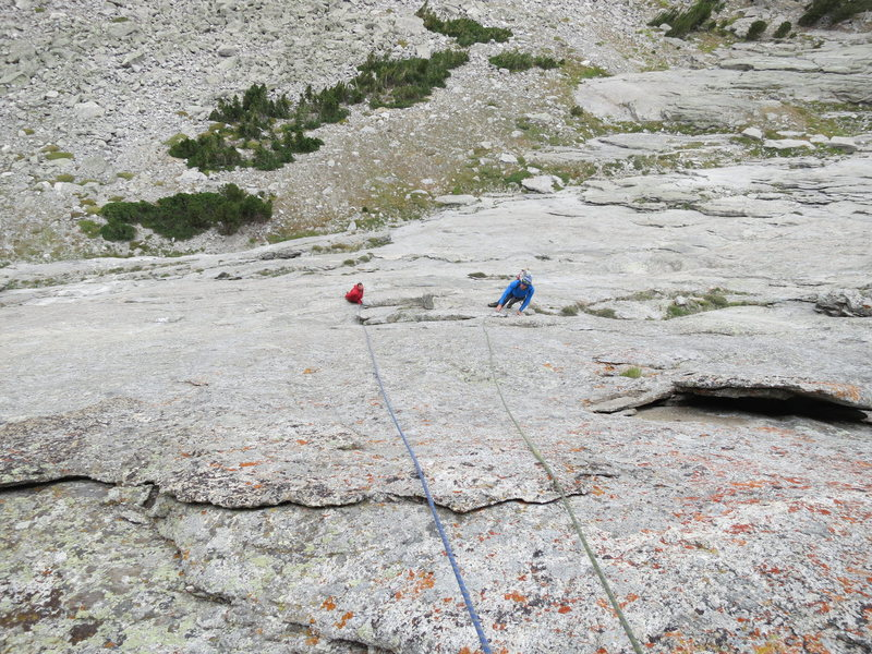 Rock Climbing Photo: Looking down the third pitch -- 5.10R