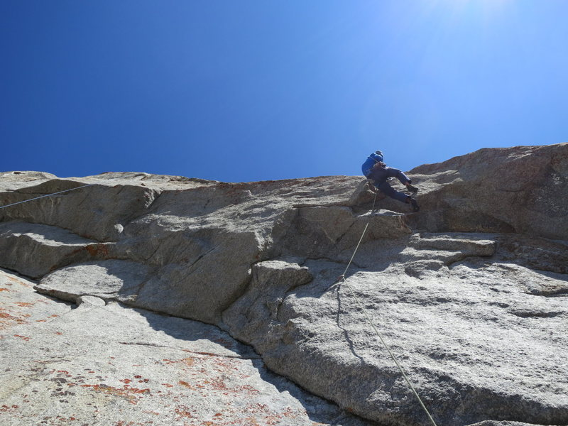 Kyle on first crux on the 5th pitch -- So good!