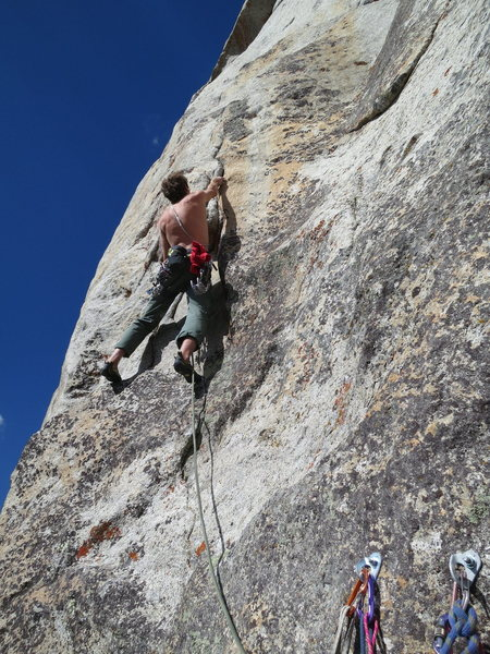 Hayden on the start of the 2nd crux pitch