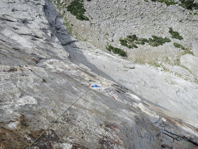 Looking down the 2nd crux pitch