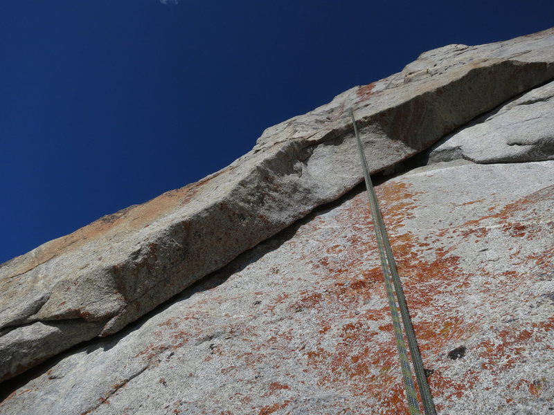 The final roof on the 2nd crux -- wild moves pulling the roof!