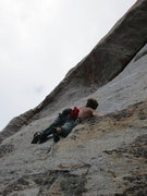 Rock Climbing Photo: Hayden on the the 2nd crux pitch -- the mantle sec...