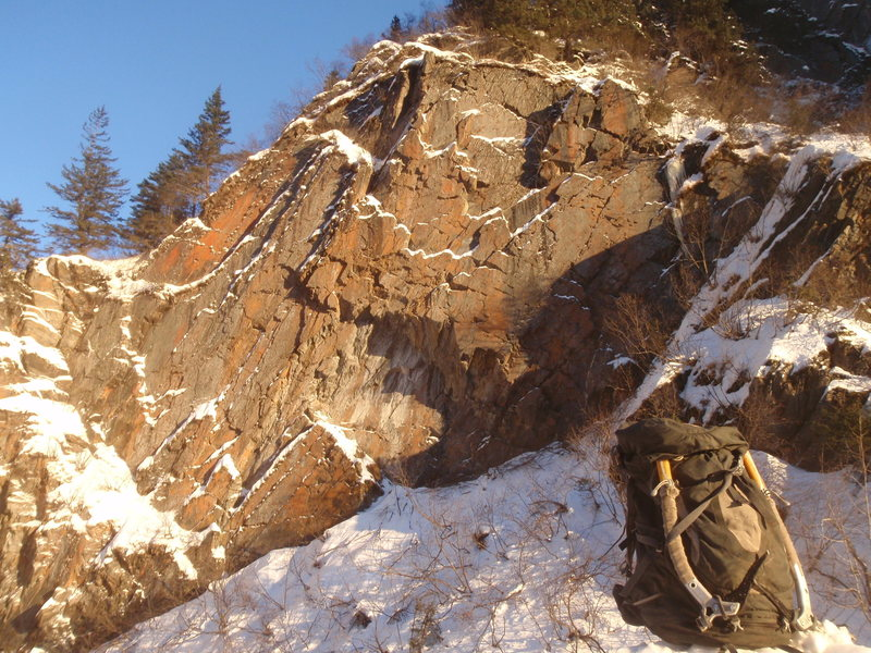 Rock Climbing Photo: Winter pic of Tunnel Wall.