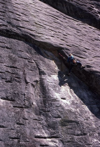 Jeff Lauschey leading Way Rad 1987, belayed by Monty Reagan who was on FA.