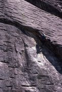 Rock Climbing Photo: Jeff Lauschey leading Way Rad 1987, belayed by Mon...