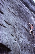 Rock Climbing Photo: Eddie on FA of Beethovan's 5th.5.11 just right of ...